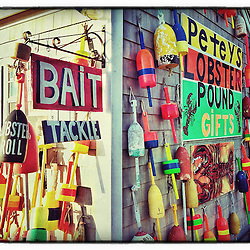 """Lobster buoys on the side of a gift shack in Rye Harbor, New Hampshire. iPhone photo - suitable for print reproduction up to 8"""" x 12""""."""