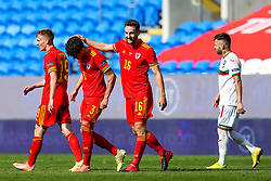 Tom Lockyer of Wales congratulates match winner Neco Williams after his injury time goal gives Wales a 1-0 victory - Rogan/JMP - 06/09/2020 - FOOTBALL - Cardiff City Stadium - Cardiff, Wales - Wales v Bulgaria - UEFA Nations League Group B4.