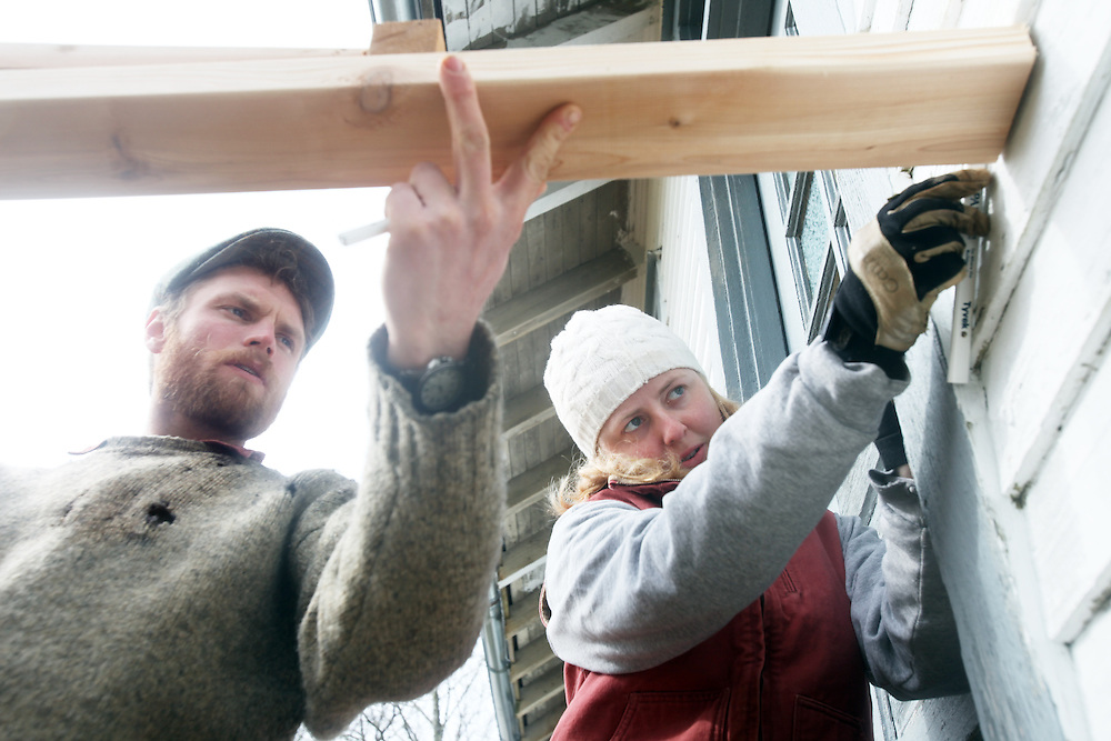 Nate Killops and Serena Orwick work. Clatsop Community College Historic Preservation students, under the supervision of their instructor Lucien Swerdloff and contractor Tim Kennedy, build staircases and railings during a workshop February 5 & 6 to replace the rotted porches on the historic U.S. Columbia River Quarantine Hospital (aka the Pesthouse) in Knappton Cove, Wash., on Sunday, March 6, 2011.