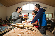 Interactive tourism with Yukon carver, Keith Wolf Smarch, in Carcross, Yukon in his carving studio.