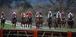 Runners make their way towards the last during the Bathwick Tyres Handicap Chase (Class 3) (5YO plus)  - Photo mandatory by-line: Harry Trump/JMP - Mobile: 07966 386802 - 09/03/15 - SPORT - Equestrian - Horse Racing - Taunton Racing - Taunton Racecourse, Somerset, England.