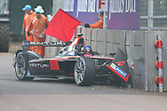Venturi driver, Stephane Sarrazin crashing into a wall in practice during Round 9 of Formula E, Battersea Park, London, United Kingdom on 2 July 2016. Photo by Matthew Redman.