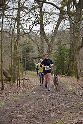 10k canicross race, Fritton Lake, Norfolk UK March 2018. Part of Angles Way, 93 mile long distance footpath from Great Yarmouth to Thetford