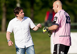 Jernej Javornik, head coach of Dob and Albin Vezirovic of Dob during football match between NK Aluminij Kidricevo and NK Roltek Dob in 27th, last Round of 2nd SNL, on May 19, 2012 in Sports park Kidricevo, Slovenia. NK Aluminij defeated NK Dob 2-1, won 2nd SNL and qualified to 1st SNL. (Photo by Vid Ponikvar / Sportida.com)