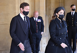 Jack Brooksbank and Princess Eugenie ahead of the funeral of the Duke of Edinburgh at Windsor Castle, Berkshire. Picture date: Saturday April 17, 2021.
