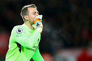 Liverpool Goalkeeper Simon Mignolet shouts instructions. Premier league match, Stoke City v Liverpool at the Bet365 Stadium in Stoke on Trent, Staffs on Wednesday 29th November 2017.<br /> pic by Chris Stading, Andrew Orchard sports photography.