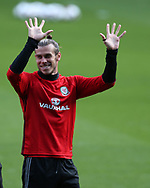 Gareth Bale of Wales in a relaxed mood and enjoying the Wales football team training at the Cardiff city Stadium in Cardiff , South Wales on Friday 1st September 2017.  the team are preparing for their FIFA World Cup qualifier home to Austria tomorrow.  pic by Andrew Orchard, Andrew Orchard sports photography