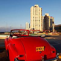 Central America, Cuba, Havana. Classic Convertible in Havana.