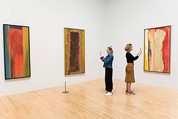"""© Licensed to London News Pictures. 30/05/2019. LONDON, UK. Staff members pose with (L to R) """"Yonder"""", 1976, """"Trampoline"""", 1975, and """"Kaieteurtoo"""", 1975, all by Frank Bowling at a preview of works by artist Frank Bowling (born in Guyana in 1934).  The retrospective exhibition spans his six-decade career and takes place 31 May to 26 August 2019 at Tate Britain.  Photo credit: Stephen Chung/LNP"""