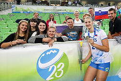Darja Erzen of Slovenia with family after the volleyball match between National team of Turkey and Slovenia in Gold Medal game of Womens U23 World Championship 2017, on September 17, 2017 in SRC Stozice, Ljubljana, Slovenia. Photo by Morgan Kristan / Sportida