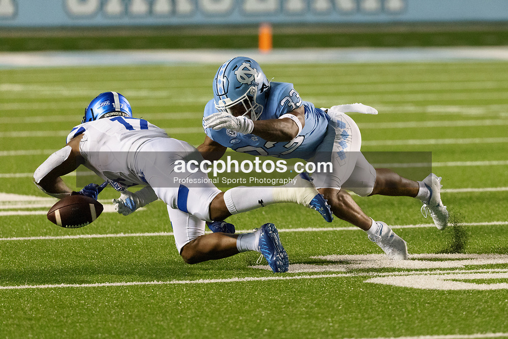 CHAPEL HILL, NC - SEPTEMBER 11: Cedric Gray #33 of the North Carolina Tar Heels plays during a game against the Georgia State Panthers on September 11, 2021 at Kenan Stadium in Chapel Hill, North Carolina. North Carolina won 59-17. (Photo by Peyton Williams/Getty Images) *** Local Caption *** Cedric Gray