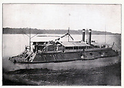 This gunboat, the Cincinnati, was one of the seven flat-bottom iron clads built by Captain Eads at Carondelet, Missouri, and Mound City, Illinois, during the latter half of 1861. from the book ' The Civil war through the camera ' hundreds of vivid photographs actually taken in Civil war times, sixteen reproductions in color of famous war paintings. The new text history by Henry W. Elson. A. complete illustrated history of the Civil war