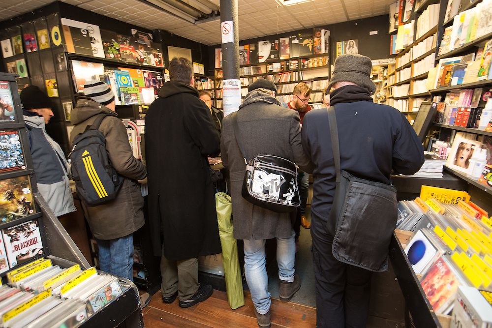 Music fans out in their numbers for Record Store Day. The Love Music shop on Dundas Street, Glasgow. Customers in the busy shop. Picture Robert Perry 16th April 2016<br /> <br /> Must credit photo to Robert Perry<br /> FEE PAYABLE FOR REPRO USE<br /> FEE PAYABLE FOR ALL INTERNET USE<br /> www.robertperry.co.uk<br /> <br /> NB -This image is not to be distributed without the prior consent of the copyright holder.<br /> in using this image you agree to abide by terms and conditions as stated in this caption.<br /> All monies payable to Robert Perry<br /> <br /> (PLEASE DO NOT REMOVE THIS CAPTION)<br /> This image is intended for Editorial use (e.g. news). Any commercial or promotional use requires additional clearance. <br /> Copyright 2016 All rights protected.<br /> first use only<br /> contact details<br /> Robert Perry     <br /> 07702 631 477<br /> robertperryphotos@gmail.com<br />        <br /> Robert Perry reserves the right to pursue unauthorised use of this image . If you violate my intellectual property you may be liable for  damages, loss of income, and profits you derive from the use of this image.