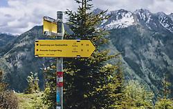 THEMENBILD - ein Wegweiser im Wald zeigt den Wanderweg am Maiskogel an, aufgenommen am 24. Mai 2020 in Kaprun, Oesterreich // a signpost in the forest shows the hiking way to the Maiskogel in Kaprun, Austria on 2020/05/24. EXPA Pictures © 2020, PhotoCredit: EXPA/Stefanie Oberhauser