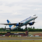 Airplane taking off runway