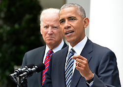U.S.President Barack Obama makes remarks, as Vice President Joe Biden listens, on Republican President-elect Donald J. Trump's presidential victory over Former Secretary of State Hillary Clinton, at the White House, November 9, 2016, in Washington, DC. Obama invited Trump to visit the White House and promised a smooth transition. ISP Photo by Mike Theiler via UPI