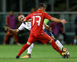 October 6, 2017 - Turin, Italy - Roberto Gagliardini (L) of Italy national team and Enis Bardhi of FYR Macedonia national team vie for the ball during the 2018 FIFA World Cup Russia qualifier Group G football match between Italy and FYR Macedonia at Stadio Olimpico on October 6, 2017 in Turin, Italy. (Credit Image: © Mike Kireev/NurPhoto via ZUMA Press)