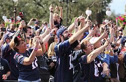 Fans cheer Super Bowl LIII MVP Julian Edelman and New England Patriots quarterback Tom Brady during the Super Bowl victory parade in the Magic Kingdom on Monday, February 4, 2019 at Walt Disney World, in Lake Buena Vista, FL, USA. Photo by Joe Burbank/Orlando Sentinel/TNS/ABACAPRESS.COM