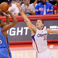 11 May 2014: Oklahoma City Thunder forward Kevin Durant (35) takes a jumpshot over Los Angeles Clippers forward Blake Griffin (32) during the Los Angeles Clippers 101-99 victory over the Oklahoma City Thunder, during Game Four of the Western Conference Semifinals of the NBA Playoffs, at the Staples Center, Los Angeles, California, USA.
