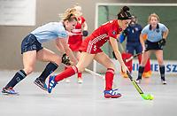 HAMBURG  (Ger) - Match 20,  for FINAL, LMHC Laren - Dinamo Elektrostal (Rus)  Photo: Lisanne de Lange (Laren)   with Alena Diagileva (Elektr.) Eurohockey Indoor Club Cup 2019 Women . WORLDSPORTPICS COPYRIGHT  KOEN SUYK