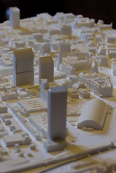 © Licensed to London News Pictures . 28/07/2016 . Manchester , UK . Proposed model of the site . Launch of the St Michael's city centre development , at the Lord Mayor's Parlour in Manchester Town Hall . Backed by The Jackson's Row Development Partnership (comprising Gary Neville , Ryan Giggs and Brendan Flood ) along with Manchester City Council , Rowsley Ltd and Beijing Construction and Engineering Group International , the Jackson's Row area of the city centre will be redeveloped with a design proposed by Make Architects . Photo credit : Joel Goodman/LNP