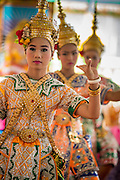 """29 SEPTEMBER 2012 - NAKORN NAYOK, THAILAND:  Thai dancers perform during observances of Ganesh Ustav at Wat Utthayan Ganesh, a temple dedicated to Ganesh in Nakorn Nayok, about three hours from Bangkok. Many Thai Buddhists incorporate Hindu elements, including worship of Ganesh into their spiritual life. Ganesha Chaturthi also known as Vinayaka Chaturthi, is the Hindu festival celebrated on the day of the re-birth of Lord Ganesha, the son of Shiva and Parvati. The festival, also known as Ganeshotsav (""""festival of Ganesha"""") is observed in the Hindu calendar month of Bhaadrapada, starting on the the fourth day of the waxing moon. The festival lasts for 10 days, ending on the fourteenth day of the waxing moon. Outside India, it is celebrated widely in Nepal and by Hindus in the United States, Canada, Mauritius, Singapore, Thailand, Cambodia, Burma , Fiji and Trinidad & Tobago.     PHOTO BY JACK KURTZ"""