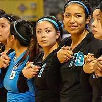 111414  Adron Gardner/Independent<br /> <br /> The Navajo Prep Eagles line up for the national anthem before facing the Texico Wolverines  during the New Mexico state volleyball finals at the Santa Ana Star Center in Rio Rancho Friday.