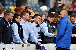 Bristol Rugby Director of Rugby Andy Robinson speaks to some of the non-playing team on the sidelines during the pre-match warm-up - Photo mandatory by-line: Patrick Khachfe/JMP - Mobile: 07966 386802 27/05/2015 - SPORT - RUGBY UNION - Worcester - Sixways Stadium - Worcester Warriors v Bristol Rugby - Greene King IPA Championship Play-off Final (Second leg)
