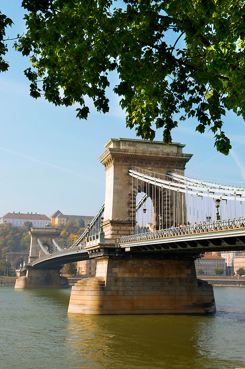 Lánchid . Chain Bridge over the Danube - Budapest - Hungary .<br /> <br /> Visit our HUNGARY HISTORIC PLACES PHOTO COLLECTIONS for more photos to download or buy as wall art prints https://funkystock.photoshelter.com/gallery-collection/Pictures-Images-of-Hungary-Photos-of-Hungarian-Historic-Landmark-Sites/C0000Te8AnPgxjRg