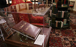 """A copy of the """" Christmas Carol """", by Charles Dickens is on display in the Library Room of the White House in Washington, DC, November 27, 2017. . Photo by Olivier Douliery/Abaca Press"""