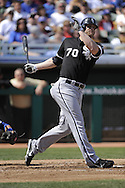 MESA, AZ - MARCH 6:  Jason Botts #70 of the Chicago White Sox bats against the Chicago Cubs on March 6, 2010 at HoHoKam Park in Mesa, Arizona. (Photo by Ron Vesely)