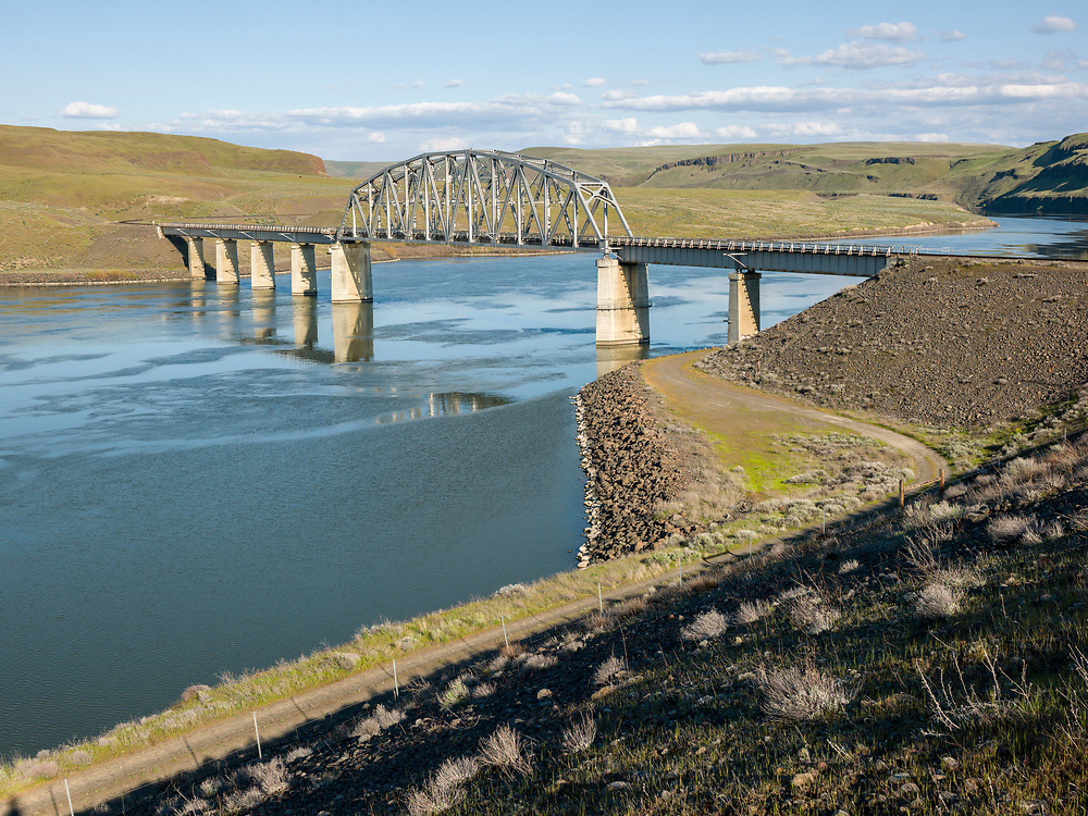 Highway bridge crossing the Snake River near Little Goose Dam in Washington State.  Licensing and Open Edition Prints.