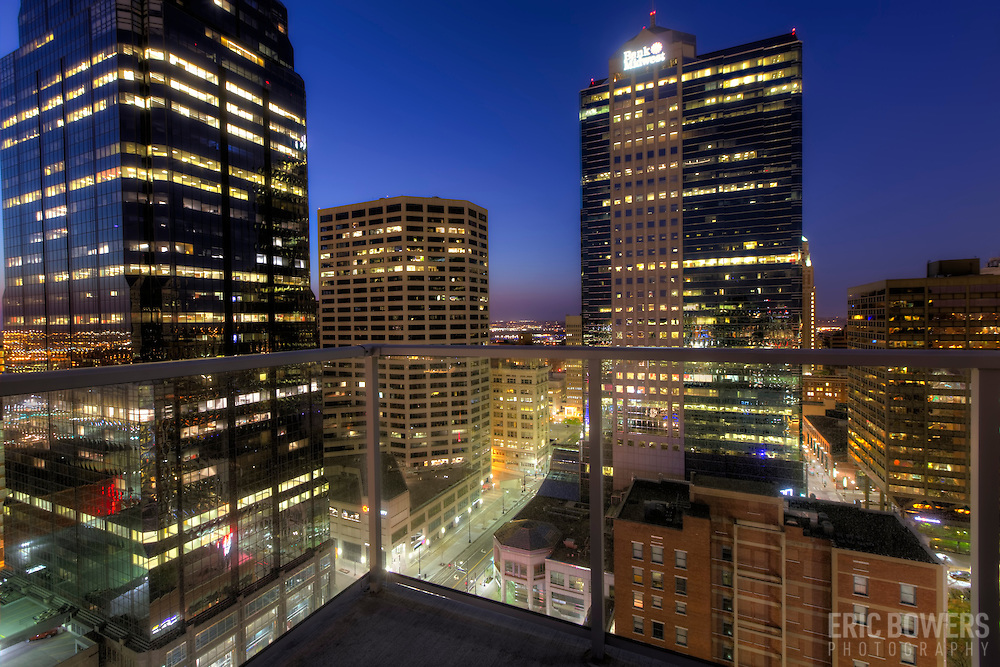 View from residential high-rise balcony. One Light Tower, 25th floor, downtown Kansas City, Missouri.