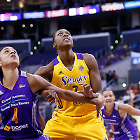 24 July 2014: Los Angeles Sparks forward/center Sandrine Gruda (7) vies for the rebound with Phoenix Mercury forward Candice Dupree (4) during the Phoenix Mercury 93-73 victory over the Los Angeles Sparks, at the Staples Center, Los Angeles, California, USA.