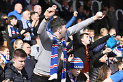 Rangers fans celebrate their teams victory after the Ladbrokes Scottish Premiership match between Hamilton Academical FC and Rangers at New Douglas Park, Hamilton, Scotland on 24 February 2019.