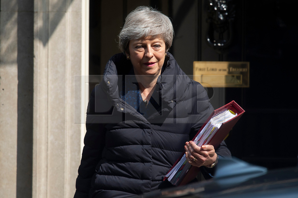 © Licensed to London News Pictures. 01/05/2019. London, UK. British Prime Minister Theresa May leaves 10 Downing Street for the Prime Minister's Questions in the House of Commons. Photo credit: Ray Tang/LNP