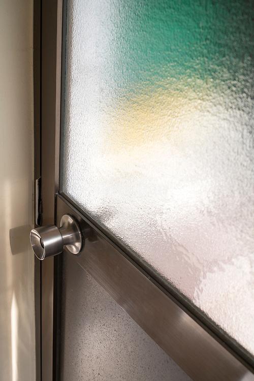 door handle with stained glass framed door