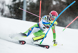 """Ana Bucik (SLO) competes during 1st Run of FIS Alpine Ski World Cup 2017/18 Ladies' Slalom race named """"Snow Queen Trophy 2018"""", on January 3, 2018 in Course Crveni Spust at Sljeme hill, Zagreb, Croatia. Photo by Vid Ponikvar / Sportida"""