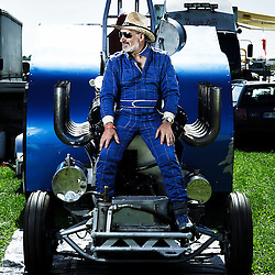 "BOUCONVILLE, FRANCE. AUGUST 21, 2011. Michel Thuard and his tractor named ""Vulcain"". Tractor Pulling: Eurocup 2011. Photo: Antoine Doyen"