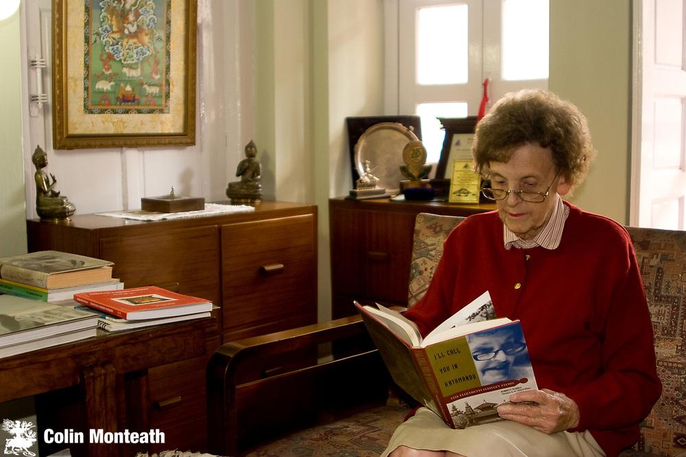 "Elizabeth Hawley with Bernadette McDonald's  biography ' I'll call you in Kathmandu"", Himalayan Trust flat, Kathmandu, Nepal"