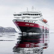 Three weeks aboard the Kong Harald. Hurtigruten, the Coastal Express. The Kong Harald cruising.