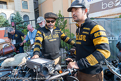 Shinya Kimura and Yoshimasa Nimi at the start of the Motorcycle Cannonball Race of the Century. Stage-1 from Atlantic City, NJ to York, PA. USA. Saturday September 10, 2016. Photography ©2016 Michael Lichter.