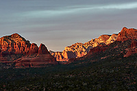 Sunset Panorama Sedona, Arizona. Image 10 of 11 images taken with a Nikon 1 V2 camera and 32 mm f/1.2 lens (ISO 200, 32 mm, f/5.6, 1/40 sec). Raw images processed with Capture One Pro. Panorama generated using AutoPano Giga Pro.