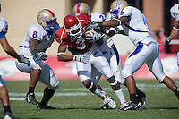 FAYETTEVILLE, AR - NOVEMBER 1:   Joe Adams #3 of the Arkansas Razorbacks runs with the ball after making a catch against the Tulsa Golden Hurricanes at Donald W. Reynolds Stadium on November 1, 2008 in Fayetteville, Arkansas.  The Razorbacks defeated the Golden Hurricanes 30 to 23.  (Photo by Wesley Hitt/Getty Images) *** Local Caption *** Joe AdamsUniversity of Arkansas Razorback Men's and Women's athletes action photos during the 2008-2009 season in Fayetteville, Arkansas....©Wesley Hitt.All Rights Reserved.501-258-0920.