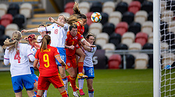 NEWPORT, WALES - Thursday, October 22, 2020: Wales' Natasha Harding scores the third goal with a header during the UEFA Women's Euro 2022 England Qualifying Round Group C match between Wales Women and Faroe Islands Women at Rodney Parade. Wales won 4-0. (Pic by David Rawcliffe/Propaganda)