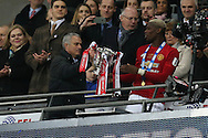 Manchester Utd manager Jose Mourinho gets the trophy off Paul Pogba at the end of the game.   EFL Cup Final 2017, Manchester Utd v Southampton at Wembley Stadium in London on Sunday 26th February 2017. pic by Andrew Orchard, Andrew Orchard sports photography.