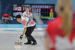 February 11, 2018 - Gangneung, GANGWON, SOUTH KOREA - Feb 11, 2018-Gangneung, South Korea-Lee Ki Jeong of South Korea action during the 2018 Pyeongchang Winter Olympic Curling Mix Double Session 7th D Korea v Canada at Curling Center in Gangneung, South Korea. (Credit Image: © Gmc via ZUMA Wire)