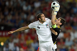 Giorgio Chiellini of Italy (4) vs Goalkeeper of Spain Ikes Casillas during the UEFA EURO 2008 Quarter-Final soccer match between Spain and Italy at Ernst-Happel Stadium, on June 22,2008, in Wien, Austria. Spain won after penalty shots 4:2. (Photo by Vid Ponikvar / Sportal Images)