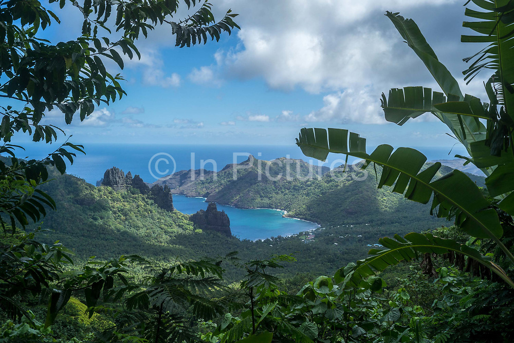 Nuku Hiva, Marquesas Islands, French Polynesia.<br /> Nuku Hiva is the largest of the Marquesas Islands in French Polynesia, an overseas territory of France in the Pacific Ocean. It was formerly also known as Île Marchand and Madison Island. Herman Melville wrote his book Typee based on his experiences in the Taipivai valley in the eastern part of Nuku Hiva.