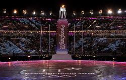 February 25, 2018 - Pyeongchang, KOR - The Olympic cauldron at Pyeongchang Olympic Stadium Stadium before the Closing Ceremony of the 2018 Pyeongchang Winter Olympics on Sunday, February 25, 2018 in South Korea. (Credit Image: © Carlos Gonzalez/TNS via ZUMA Wire)